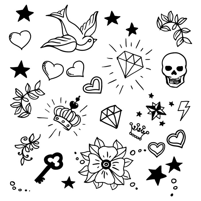 Set Of Old School Tattoos Elements Sticker Pixers We Live To Change