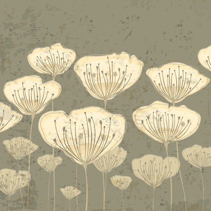 Papier peint beige fleurs stylisees sur fond de grunge for Kitchen cabinets lowes with papier peint 4 mur