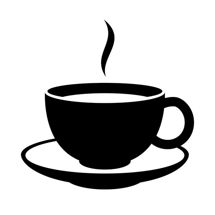 Simple coffee or tea cup icon black mug pixerstick sticker meals