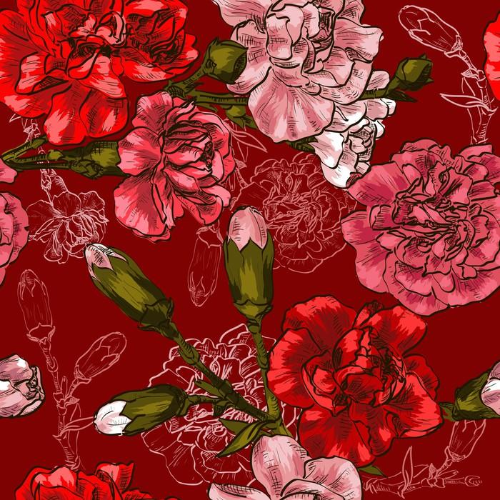 Vinylová Tapeta Bezešvé pozadí s červeným květ karafiát - Květiny