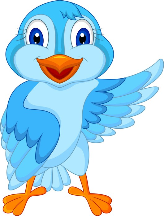 Fototapete Netter blauer Vogel-Cartoon winken • Pixers® - Wir leben ...