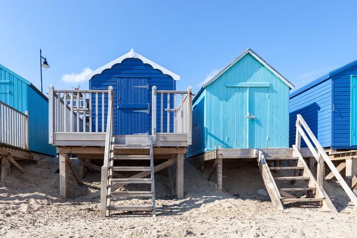 papier peint cabines de plage bleues pixers nous vivons pour changer. Black Bedroom Furniture Sets. Home Design Ideas