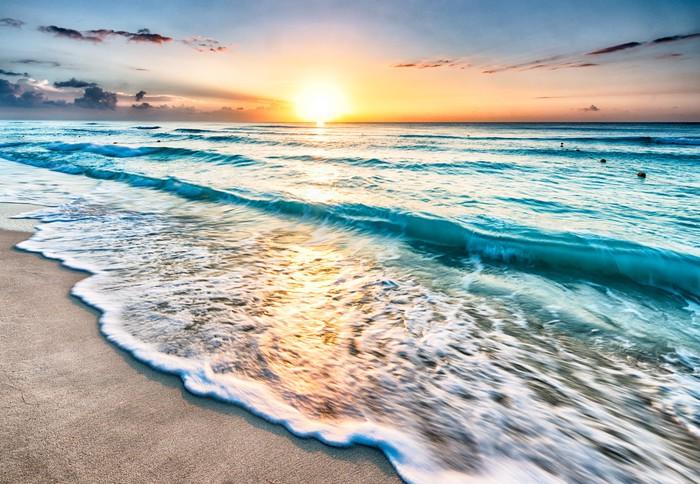 Carta da Parati in Vinile Alba sulla spiaggia di Cancun - Temi