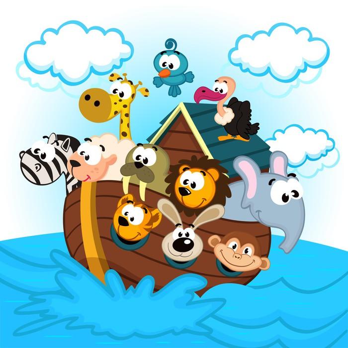 Carta da parati l 39 arca di no con gli animali for Carta da parati vinile