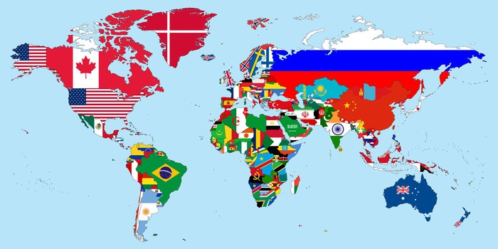 Illustration of the countries national flags on the world map wall illustration of the countries national flags on the world map vinyl wall mural backgrounds gumiabroncs Choice Image