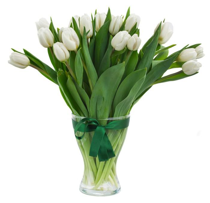 Vinylová Tapeta Kytice bílých tulipánů ve váze - Květiny
