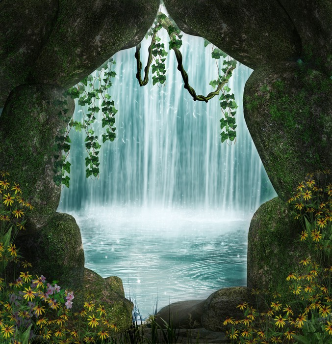 The Cave And The Waterfall Wall Mural Pixers 174 We Live