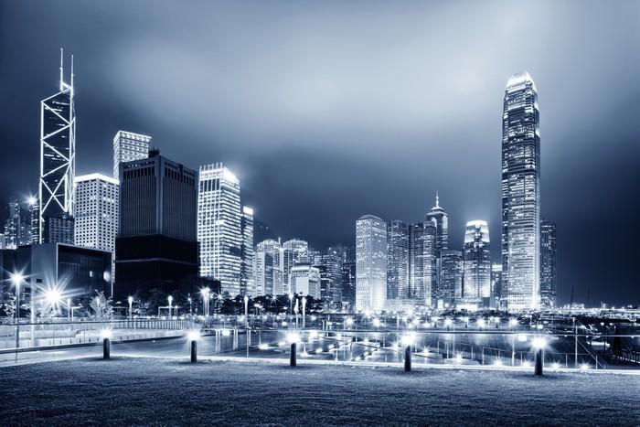 Vinylová Tapeta Náměstí s nočním moderní budova zázemí - Asijská města