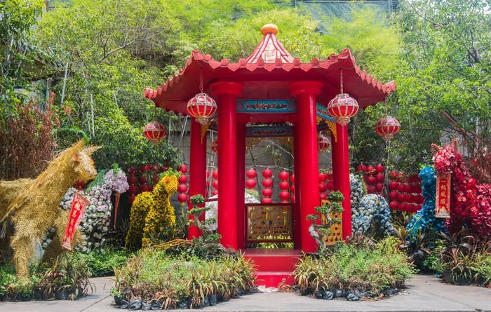 Vinylová Tapeta Červený čínský styl pavillion - Veřejné budovy