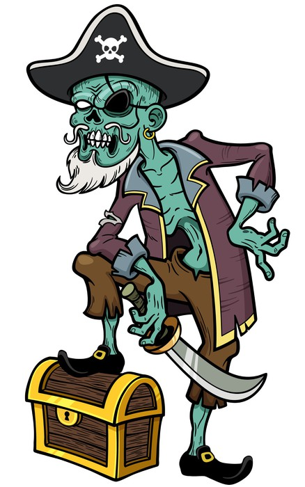Vector illustration of Cartoon Pirate zombie Wall Mural • Pixers ...