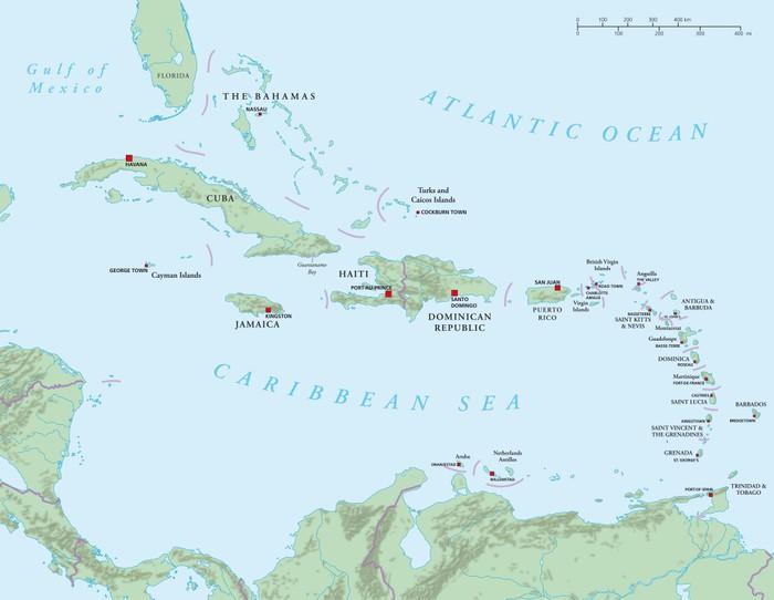 Fototapet Karibien Store Og Mindre Antiller Politisk Kart