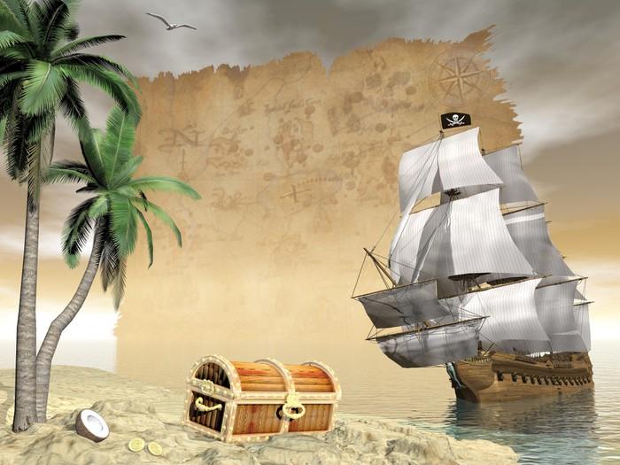 Pirate ship finding treasure - 3D render Wall Mural • Pixers® • We ...