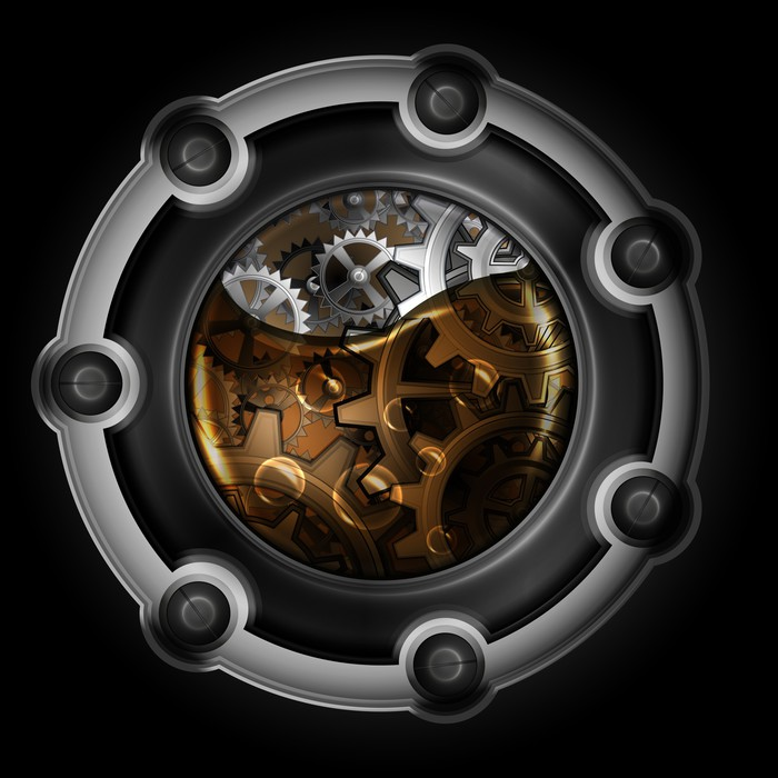Vinylová Tapeta Steampunk abstraktní mechanismus. Gears ve strojním olejem. - Steampunk