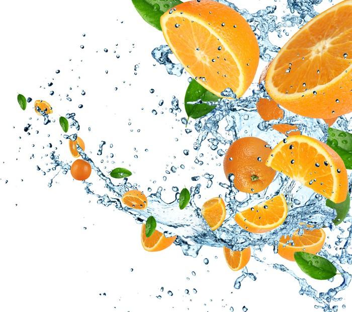 Vinylová Tapeta Pomeranče se stříkající vodě - Jídla