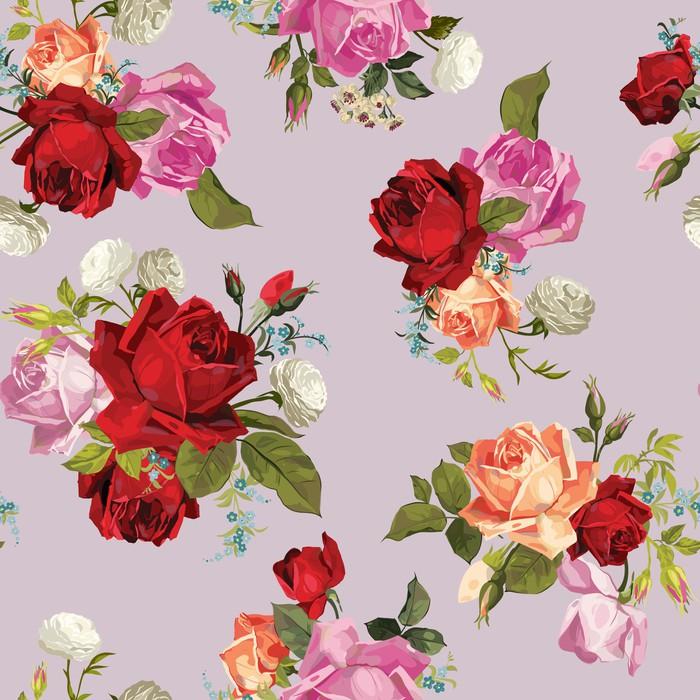 Vinylová Tapeta Vektorové bezešvé květinový vzor s růžemi - Pozadí