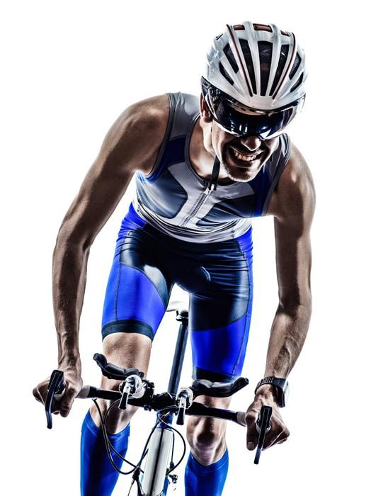 Leinwandbild Man Triathlon Eisenmannathlet Radfahrer Radfahren - Themen