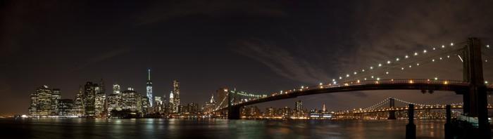 Vinylová Tapeta New York Noční pohled Panorama - New York