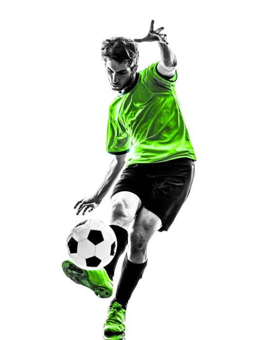 fototapete fu ball fu ball spieler junger mann kicking. Black Bedroom Furniture Sets. Home Design Ideas