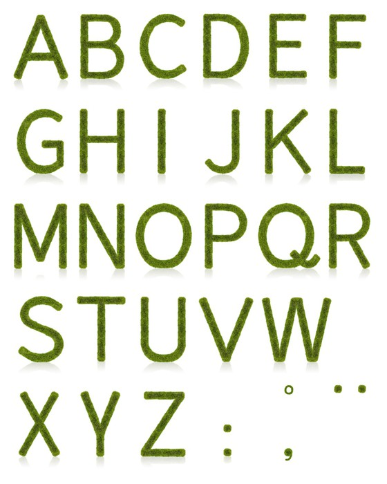 Vinylová Tapeta Grass Abeceda Uppercase - Příroda
