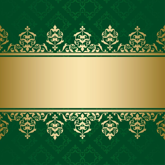 dark green vector background with golden decorative ornament Wall ...