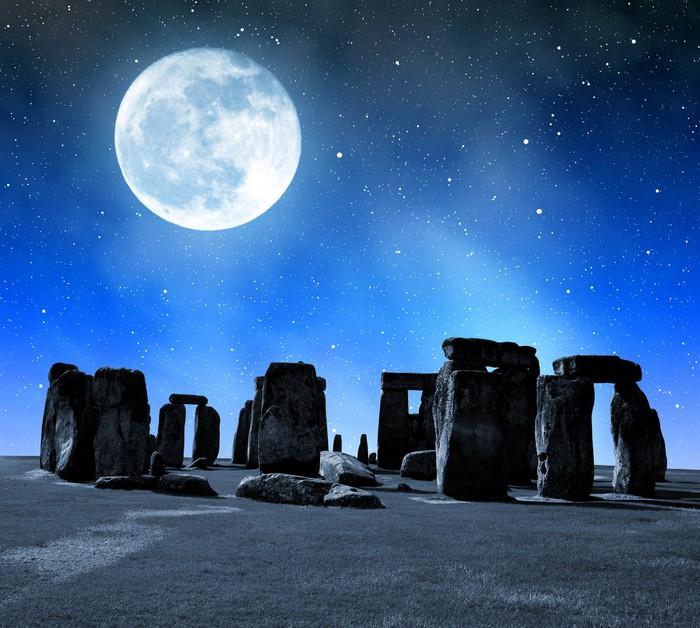 Historical Monument Stonehenge In Night England Uk Wall
