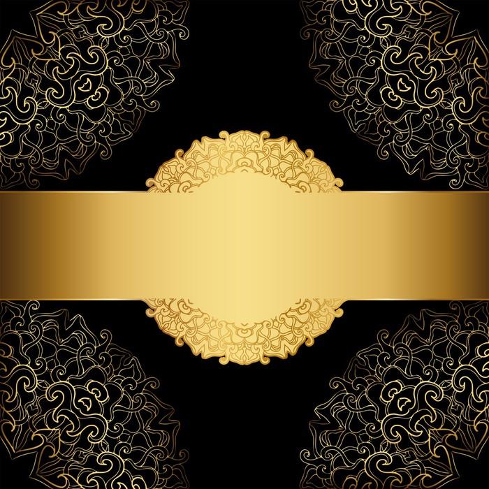Vinilo Pixerstick Marco de oro sobre un fondo negro. etiqueta ...