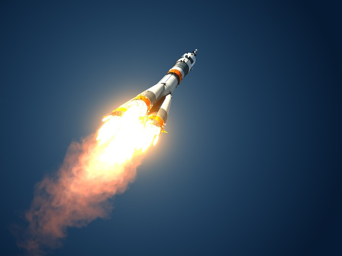 "Carrier Rocket ""Soyuz-FG"" Takes Off Vinyl Wallpaper - Outer Space"