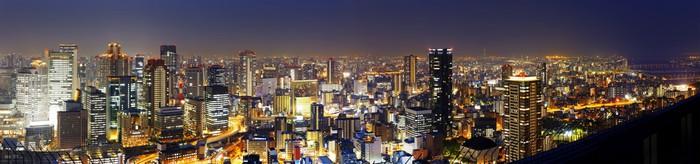 Vinylová Tapeta Panoramatický Osaka v noci, Japonsko - Město
