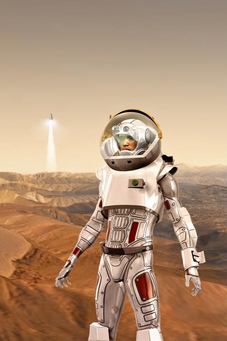 Vinylová Tapeta Astronaut na Marsu - Meziplanetární prostor