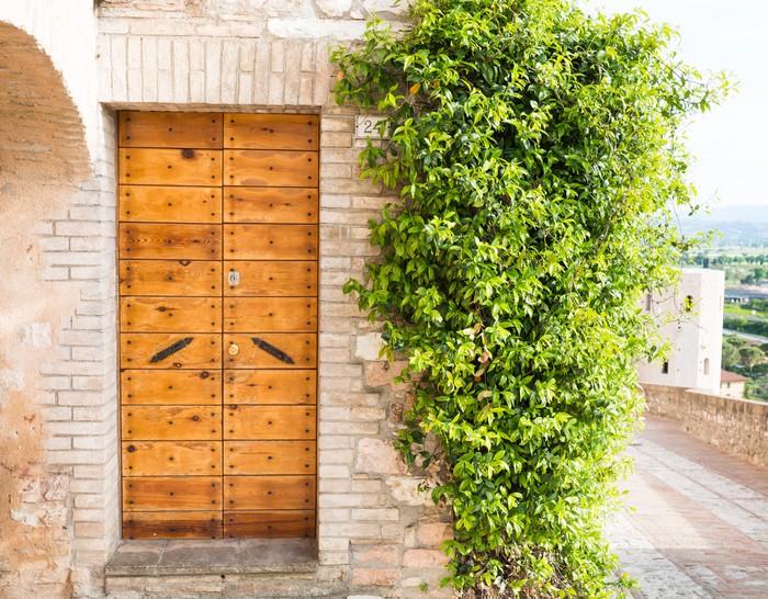 Carta da parati elegante porta di legno pixers for Carta parati elegante