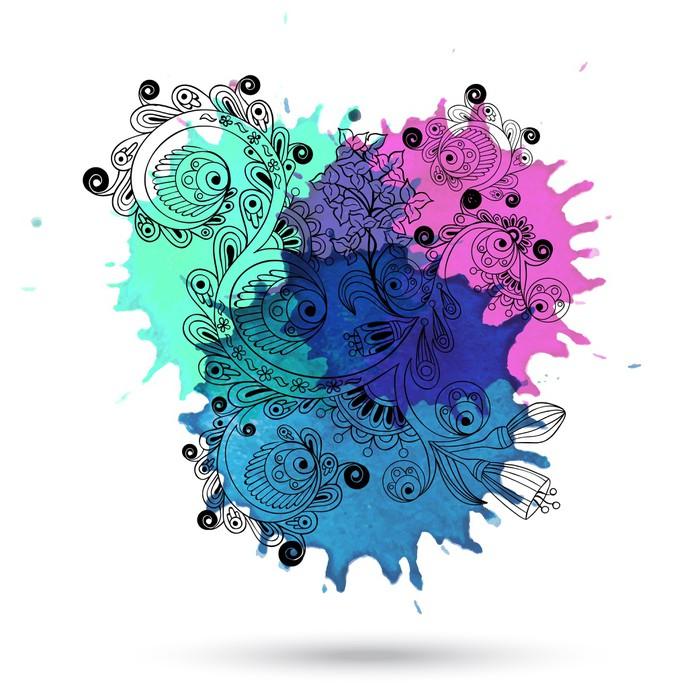 Vinylová Tapeta Vektor akvarel abstraktní konstrukce s doodle - Pozadí
