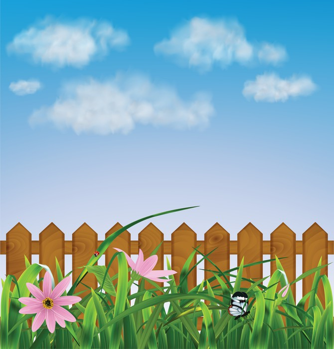 Grass with pink flowers leaf fence vector illustration wall mural grass with pink flowers leaf fence vector illustration vinyl wall mural home mightylinksfo