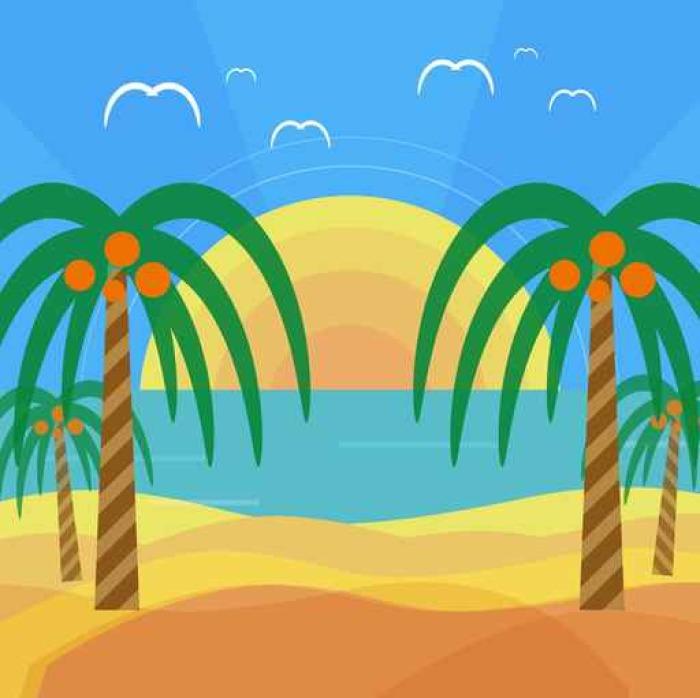Vinylová Tapeta Tropické pláže s palmami - Palmy