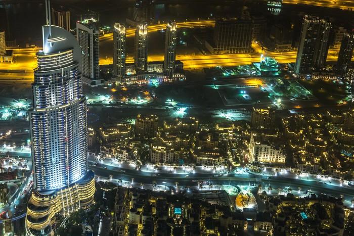 Vinylová Tapeta Adresa Hotel v noci v centru města Dubaj oblasti s výhledem - Střední Východ