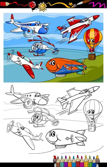 Fotomural Aviones y libro para colorear historieta de los aviones ...