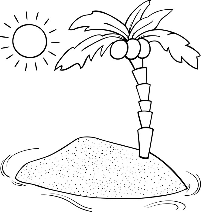 Vinilo Pixerstick Desierto para colorear de dibujos animados isla ...