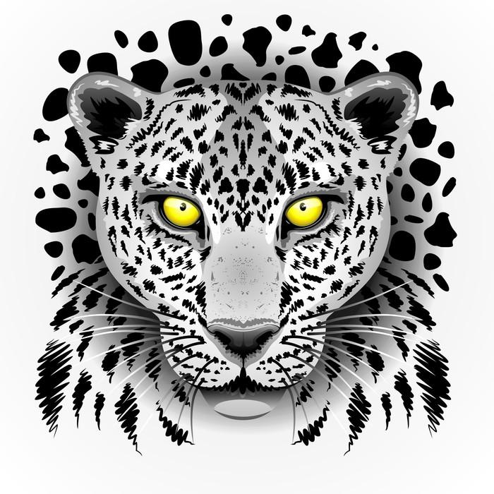 papier peint leopard blanc avec des yeux jaunes pixers nous vivons pour changer. Black Bedroom Furniture Sets. Home Design Ideas