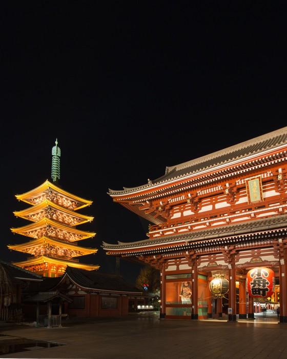 Vinylová fototapeta Starý japonský chrám v noci, Asakusa, Tokio - Vinylová fototapeta
