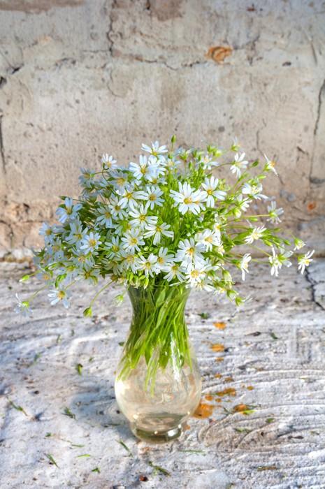 Vinylová Tapeta Zátiší kytice s první bílý lesních divokých květin - Květiny