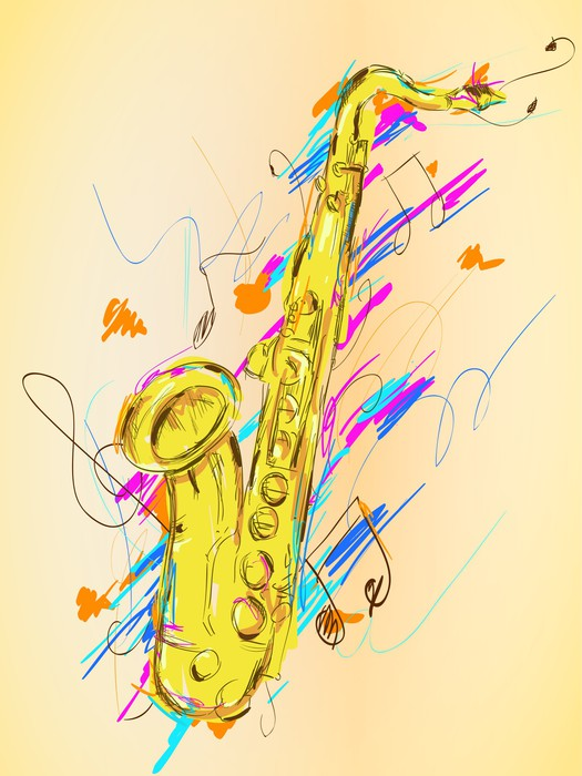 Saxophone Painting Vector Art Wall Mural • Pixers® • We live to change