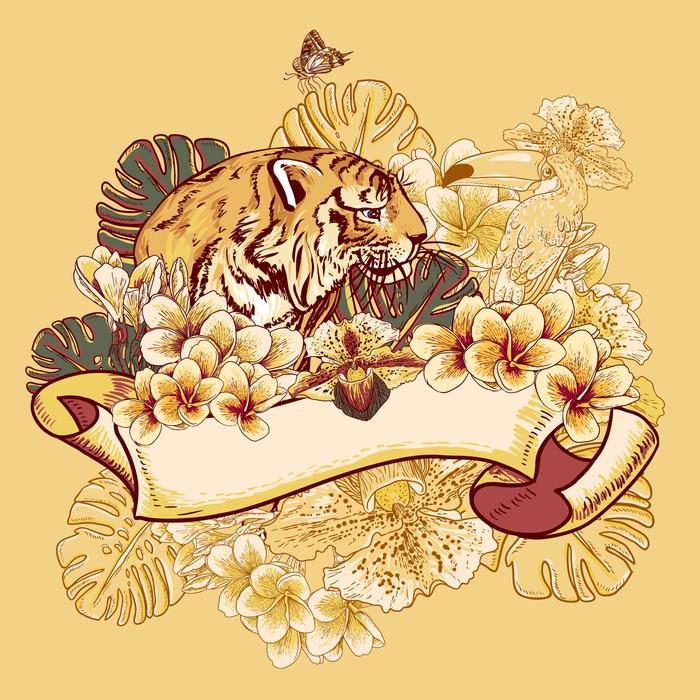 Vinylová Tapeta Tropical Exotic karta Květinové s Toucan a Tiger - Situace v podnikání