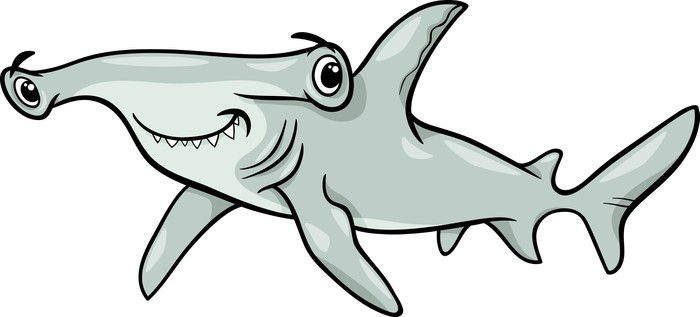 Hammerhead Shark Cartoon Illustration Sticker Pixers We Live To