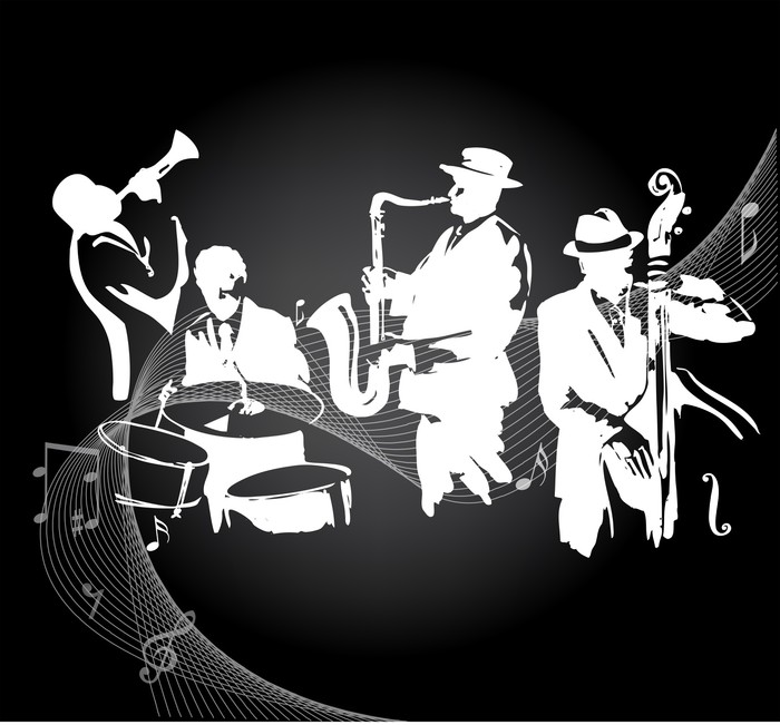 Jazz concert black background wall mural pixers we for Concert wall mural
