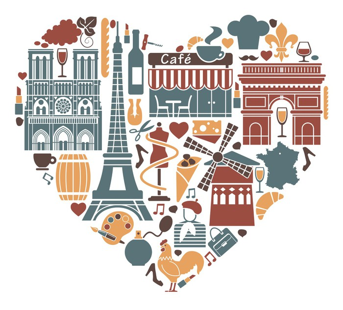 Traditional Symbols Of France In The Form Of Heart Poster Pixers