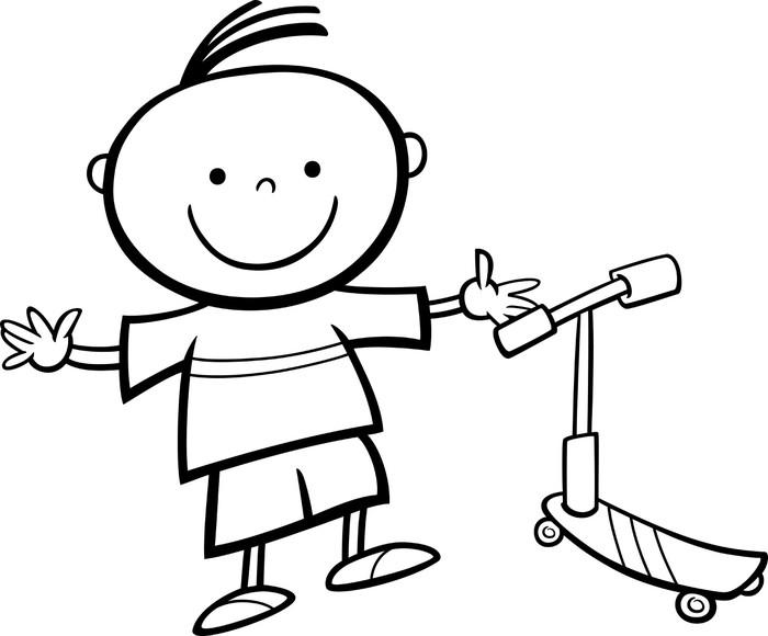 Vinilo Pixerstick Niño con scooter de dibujos animados para colorear ...