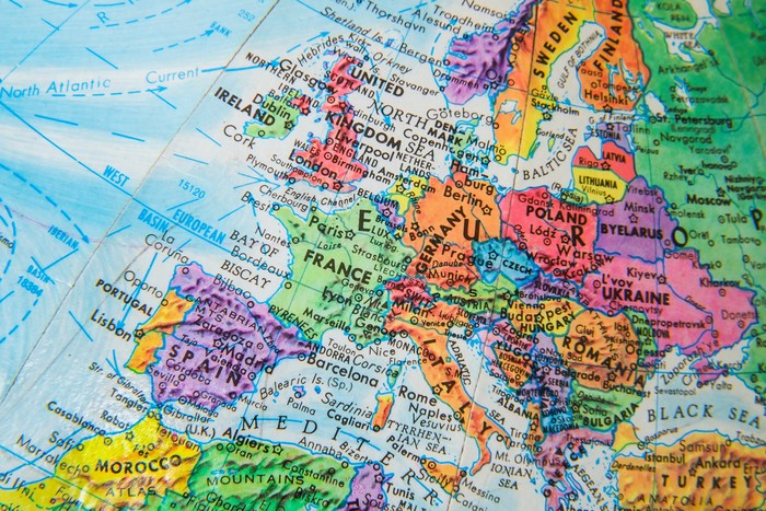 World globe map close up of europe wall mural pixers we live to world globe map close up of europe vinyl wall mural themes gumiabroncs Images