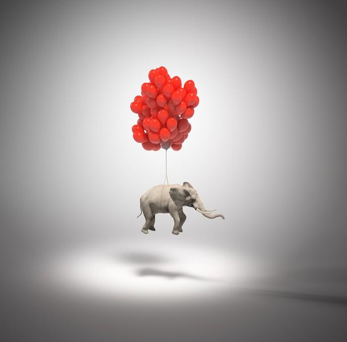 Vinylová Tapeta Slon s balonky - Imaginární zvířata