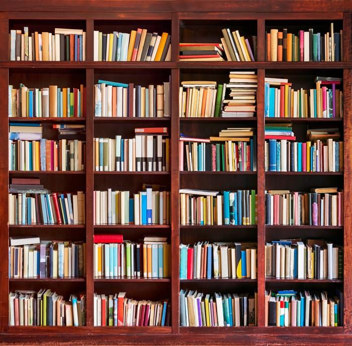 Carta da parati scaffale completo con i libri pixers for Carta da parati libri