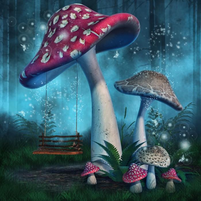 fototapete magischer wald mit hohen pilze und swing