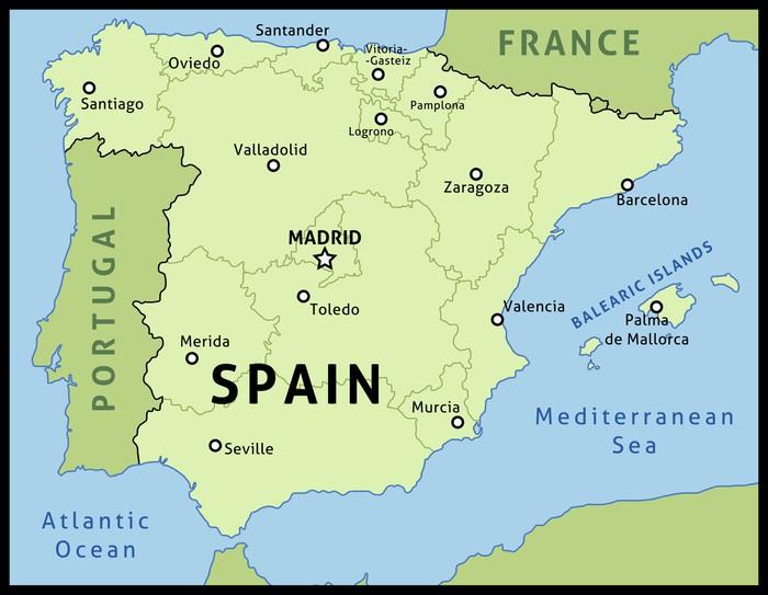 spanien karta Fototapet Karta över Spanien   vektor illustration • Pixers®   Vi  spanien karta